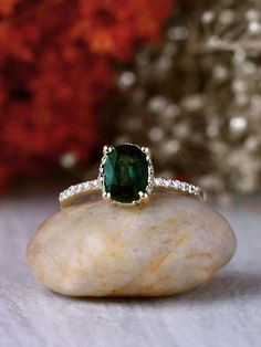 Blue-Green Sapphire and Diamond Basket 14K Gold Engagement Ring