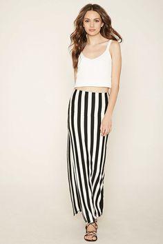 Contemporary Striped Maxi Skirt