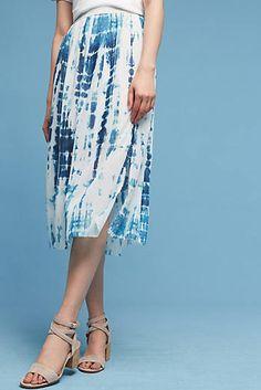 Tie-Dyed Silk Midi Skirt