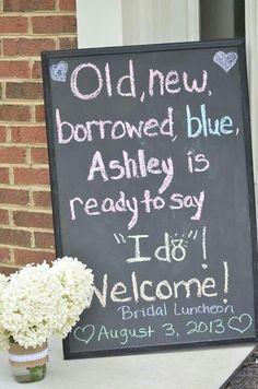 Bridal luncheon/bridal shower {photo courtesy of April Loves Vintage} chalkboard by candice.hurdbeltran