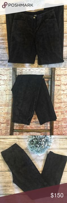 """W by Worth Black 100% Genuine Suede Pants Black straight leg fully lined suede pants from w by Worth.  The pants have a front zipper and snap closure and front slash pockets. 100% Genuine Leather with Polyester lining. Size 8. Measurements laying flat. Waist 30. Hips. 38"""". Inseam 32"""". Front rise 10"""". Rear rise 15"""". Excellent condition no flaws or signs of wear. W by Worth Pants Straight Leg"""