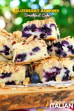 Blueberry Almond Breakfast Cake is the perfect combination of blueberry and almond in a tender butter cake.