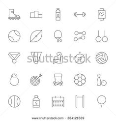 Line Sport and Fitness Big Icons Set. Vector Set of Healthy Lifestyle and…