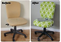 How to reupholster a computer rolling chair.  Fabric, pliers and a staple gun is all you need!  I need to do this our chairs!