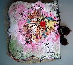 tangled, watercolored, handmade journal cover