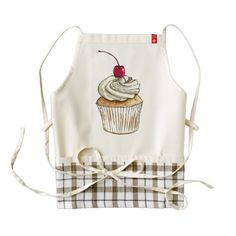 Watercolor Cupcake with Whipped Cream and Cherry Zazzle HEART Apron