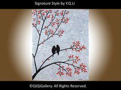 Original Birds Painting Heavy Textured Palette por QiQiGallery, $125.00