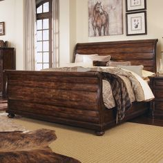 Whiskey Sleigh Bed at Wayfair Oak Bedroom, Small Master Bedroom, Bedding Master Bedroom, Bedroom Sets, Bedroom Furniture, Bedrooms, Master Room, Solid Wood Bed Frame, Wooden Bed Frames