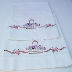 Fundas para almohadas vintage bordado de flores cesta de