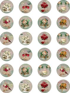 """Vintage inspired round tea cup stickers 1.5"""" and 2"""" scrapbooking crafts glossy"""