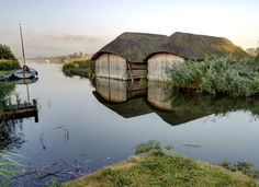 Thatched Boat Houses, Norfolk Broads