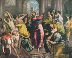 Domenico El Greco, Cleansing of the Temple Fine Art Reproduction Oil Painting