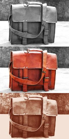 Rustic brown leather laptop cum messenger bag, Size , Very spacious and handy.