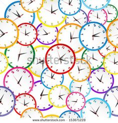 Seamless pattern with colorful clocks by Hibrida, via Shutterstock