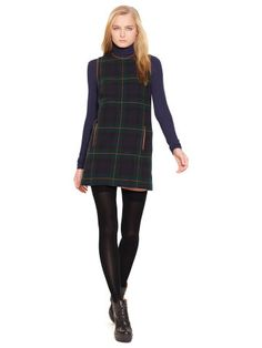 Green Leather-Trim Plaid Shift Dress Style #41670866 Polo Ralph Lauren $300