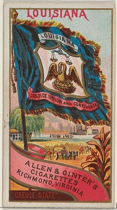"Louisiana, from the ""Flags of the States and Territories"" series (N11) for Allen & Ginter Cigarettes, c1888."