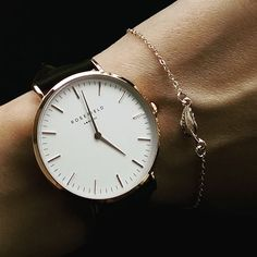 White Bowery women's watch - black leather band | ROSEFIELD Watches