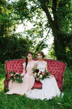pink bridesmaids dress for garden wedding