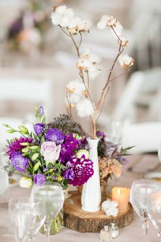 My Centerpieces! Rustic wedding, cotton centerpiece, purple, rustic, wood centerpiece, A Night In Bloom Floristry, Jonathan Young Weddings Photography