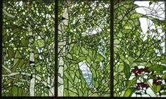 White birch tree and KUROGANEMOCHI Privacy stained glass for double hung window