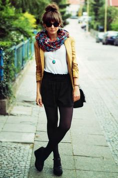 Top: white shirt, yellow cardigan / Bottom: black high-waisted shorts / Shoes: oxfords / Misc: tights, scarf, jewelry, and sunnies