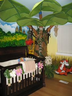Isabellas Rainforest,   Inspired by the Jungle Book I airbrushed this room for my Beautiful daughter Isabella.  I spent approximately 75 hours airbrushing this room and about 10 hours building the tree.    The tree was built out of plywood metal screen a lot of newspaper and leaves are from IKEA.  Monkeys are from EBay and Rain Forest Cafe. Crib and changing table are Baby Cache.  , Nurseries Design