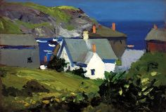 1916 'Monhegan Houses In Maine' by Edward Hopper (American; 1882~1967)