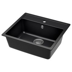 IKEA HÄLLVIKEN Inset sink, 1 bowl Black/quartz composite 56 x 50 cm 25 year guarantee. Read about the terms in the guarantee brochure. Sink Taps, Kitchen Mixer Taps, Kitchen Sink Faucets, Fitted Cabinets, Steel Seal, Composite Sinks, Apron Front Sink, Double Bowl Sink, Kitchen