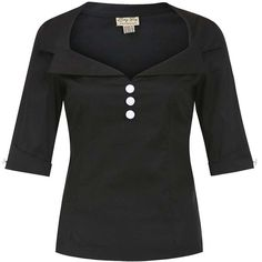 'Cilla' 1950's Vintage Tailored Black Top ($35) ❤ liked on Polyvore featuring black
