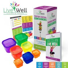 Portion Control Containers 7 Pieces Multi Colored Diet and Weight Loss #LiveWellInc