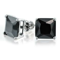 Bling Jewelry CZ Princess Cut Black Sterling Silver Screw Back Stud Earrings 9mm