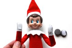 add wire, velcro and magnets to Elf on a Shelf so that he's more poseable.