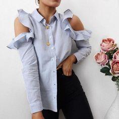Blue shirt and black pants Girly Girl, Cool Outfits, Fashion Outfits, Womens Fashion, Latest Fashion, Style Fashion, Fashion Trends, Estilo Lady Like, Buy Shirts