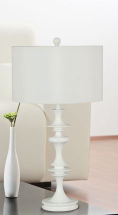 Kenroy Home Claiborne Table Lamp in White Gloss Finish