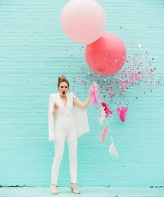 From a floral balloon arch to a chic bridal jumpsuit - this style shoot has officially made our modern whimsy dreams a reality.