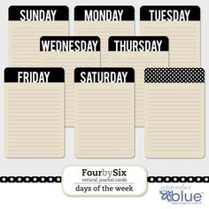 Freebie : FourbySix Journal Cards - Free printable journal cards – days of the week & graphic pattern - Life Journal, Book Journal, Journal Cards, Journals, Journal Paper, Notebooks, Bullet Journal, Project Life Freebies, Project Life Cards