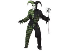 Ha-ha! Jokes on you and it's very funny! This evil jester costume includes the black/green harlequin print tunic and pants made from polyester. The Fool's hat has two points with skulls at the end of each point and is attached to the jagged-edge collar with matching black/green fabric. Completing this men's costume is the frightful full face skeleton mask with black and green designs around the eyes.