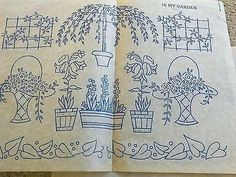 Vintage embroidery transfers. Four sheets. Flowers, posies, good luck etc