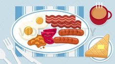 English Breakfast Food Scene Stock Animation [MOV & GIF] Royalty Free Video, Animated Icons, Breakfast Recipes, Scene, English, Animation, Make It Yourself, Youtube, Food