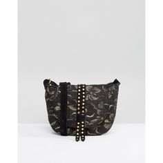 Park Lane Studded Jacquard Mini Saddle Bag With Suede Strap ($41) ❤ liked on Polyvore featuring bags, handbags, shoulder bags, black, foldover purse, floral shoulder bag, floral purse, saddle bags and floral print handbags