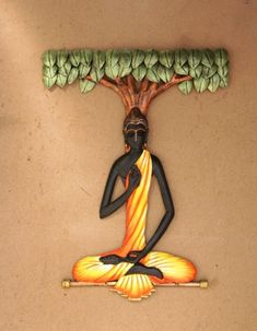 Wall Hanging - Buddha under tree - made up of wrought iron with acrylic artist… Buddha Painting, Buddha Art, Mural Painting, Mural Art, Ceramic Painting, Ceramic Art, Paintings, Murals, Clay Art Projects