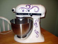 Vinyl decals for kitchen mixer - swirl flourishes. $11.00, via Etsy.