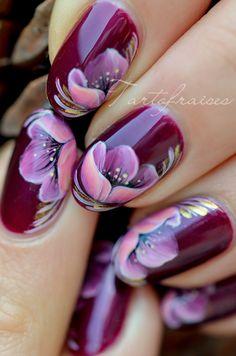 fleur zhostovo nail art