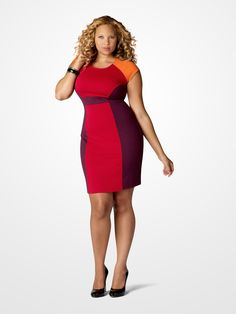 Rock the world in a Red and Purple Colorblock Dress. #SteveHarvey #Fashion