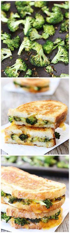 Almuerzo-Queso a la parrilla son una rápida comida y brócoli ayuda a ser saludable sin que cata mal.