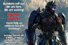 Transformers The Last Knight Birthday Invitations  - Digital Download - Get these invitations RIGHT NOW. Design yourself online, download JPG and print IMMEDIATELY! Or choose my printing services. No software download is required. Free to try!