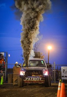 """Dynomite Diesel """"Patriot"""" getting ready to do work! Rolling Coal, Truck Quotes, Tractor Pulling, Tractors, Diesel, Monster Trucks, Hunting, Smoke, Vape"""