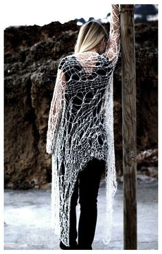 Loose weave open type sweater by munamiu on Etsy, $78.00