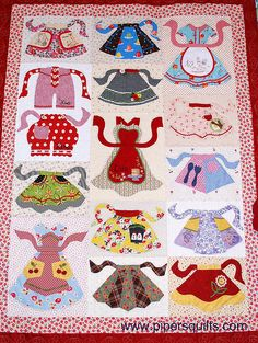 Apron Club    We have just put this kit and pattern set on sale for $100, Regularly $140. It includes all of the fabric kits for all 14 apron blocks and the pattern set. You pick your own borders, binding and back. Call toll free 877-484-5890 to order.