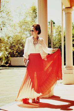 Orange Maxi skirt with a classic white blouse - pretty pretty